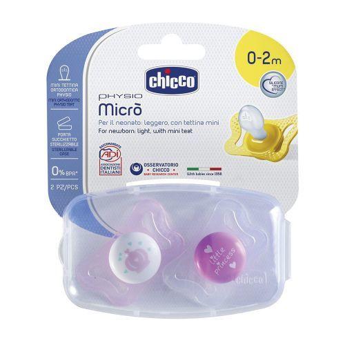 CHICCO  Залъгалка PHYSIO MICRO GIRL силикон 0-2 м. 2 бр 0340